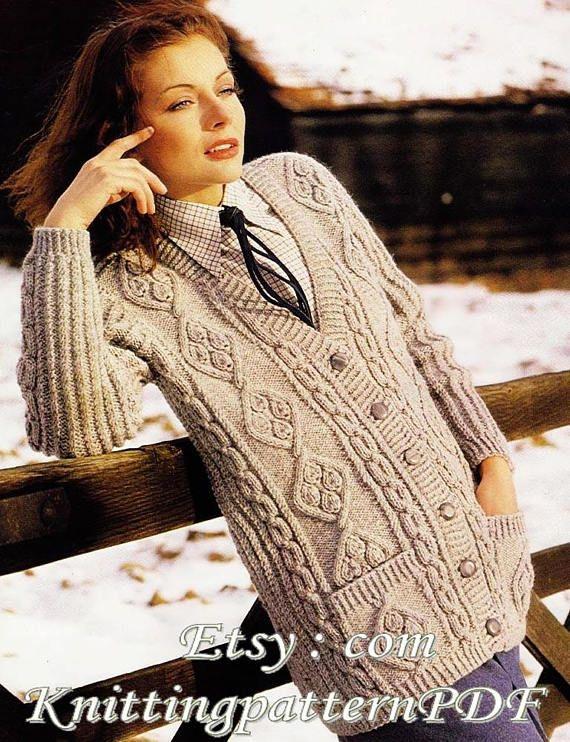 505930120610 Instant Download PDF Knitting Pattern - 695 WOMANS SLIM LINE CARDIGAN Two  beautiful traditional Aran patterns