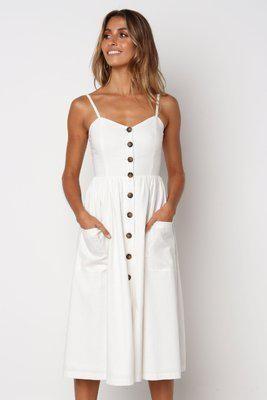 Button Striped Print Cotton Linen Casual Summer Dress 2