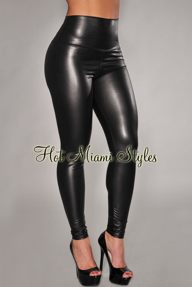 Black Liquid Faux-Leather High-Waist Leggings | My Style | Pinterest | Black Ps and Leggings