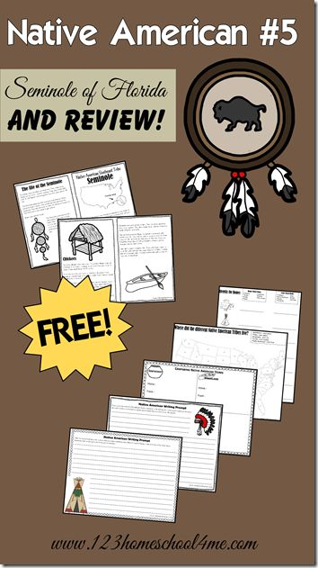 FREE Native Americans Unit - Seminole tribe of Florida and unit review with lots of review worksheets and native american creative writing prompts.