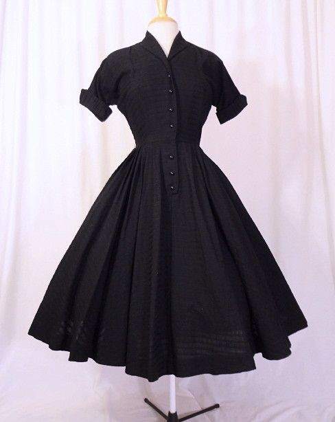 1950s Black Shirtwaist Dress
