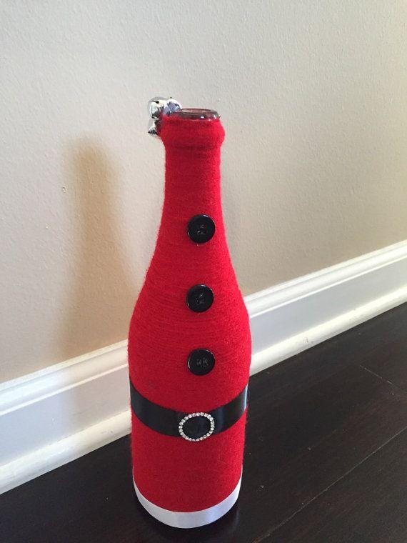 Santa Wine bottle by PiggyPumpkinsPlace on Etsy