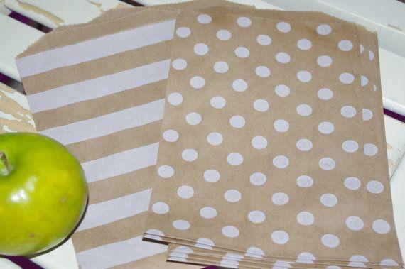POLKA DOT and STRIPED BROWn KrAFT PaPER