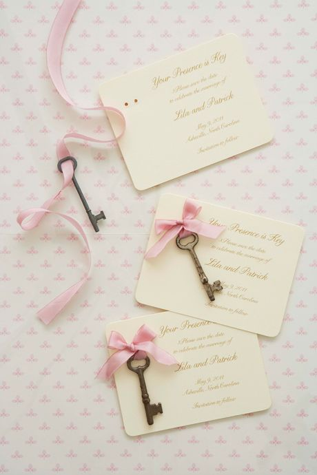 Your presence is key! Gorgeous Save the Date cards from Hello!Lucky's book, Handmade Weddings.
