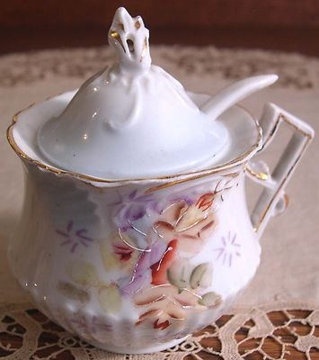 Gorgeous Antique Unmarked RS Prussia Porcelain Mustard Pot with Lid Germany MINT  With Spoon, Reinhold Schlegelmilch Porcelain Factory