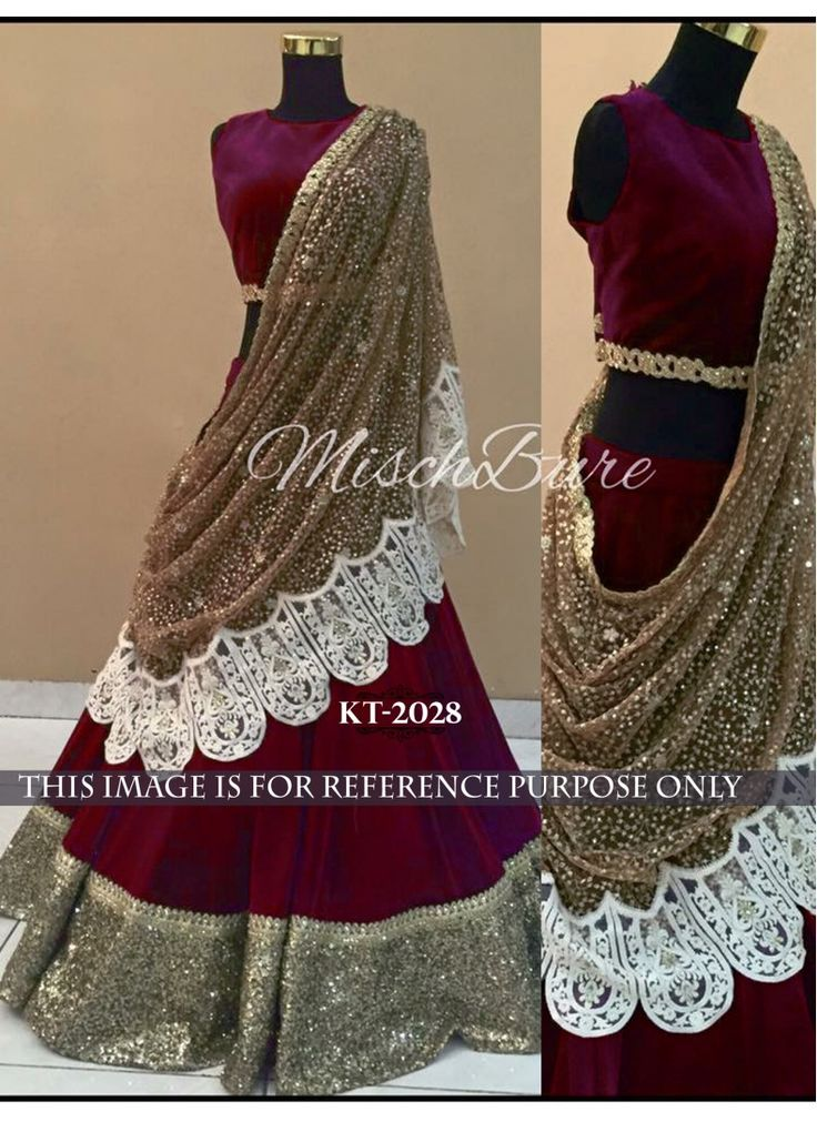 Maroon and Beige Velvet Shimmer Work Designer Lehenga Choli