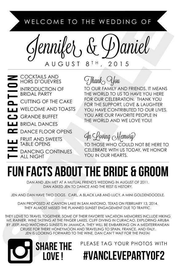 Modern Wedding Program With Thank You Note In Loving Memory And Fun Facts About