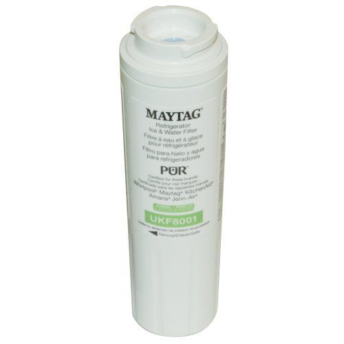 Maytag UKF8001 Pur Refrigerator Cyst Water Filter 1-Pack: This Refrigerator Water Filter is used in Maytag® and Jenn-Air® refrigerators with filter access inside the refrigerator. Simply turn the Refrigerator Water Filter to remove and replace. While retaining beneficial fluoride, this NSF® Certified Refrigerator Water Filter reduces cysts, chlorine's taste and odor, particulates, lead, mercury, and more. Replacing this Refrigerator Water Filter every 6 months ensures clean, safe drinking…