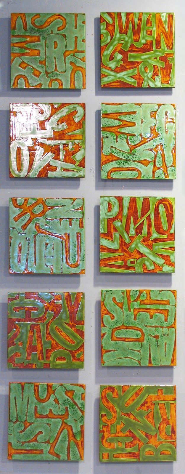 inspires: twist on Jasper Johns, print with foam letters assembled on tagboard square, student's name mixed up, make mixed media piece from printing plate
