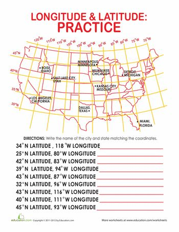 Worksheets: Latitude and Longitude of Cities: This would be cool to recreate this worksheet of just Texas and find the longitude and latitude of all of the major cities in Texas. I would use this as an assessment to see if they understand this concept.