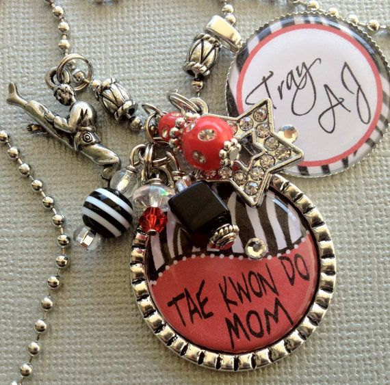 Tae Kwon Do Mom PERSONALIZED necklace  karate by buttonit on Etsy, $24.50