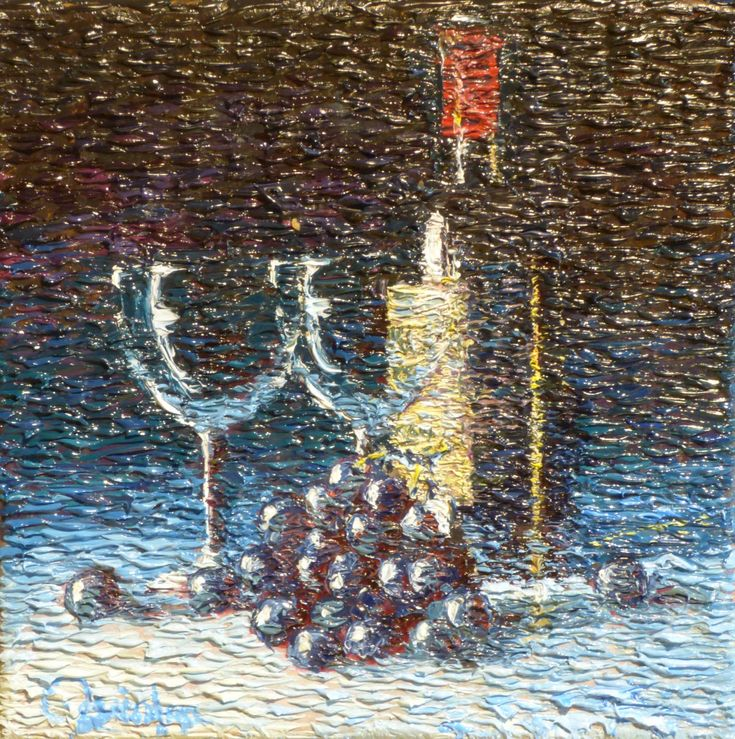 """impressionistic still life wine and glasses 8"""" x 8"""" by Chris Quinlan Art"""