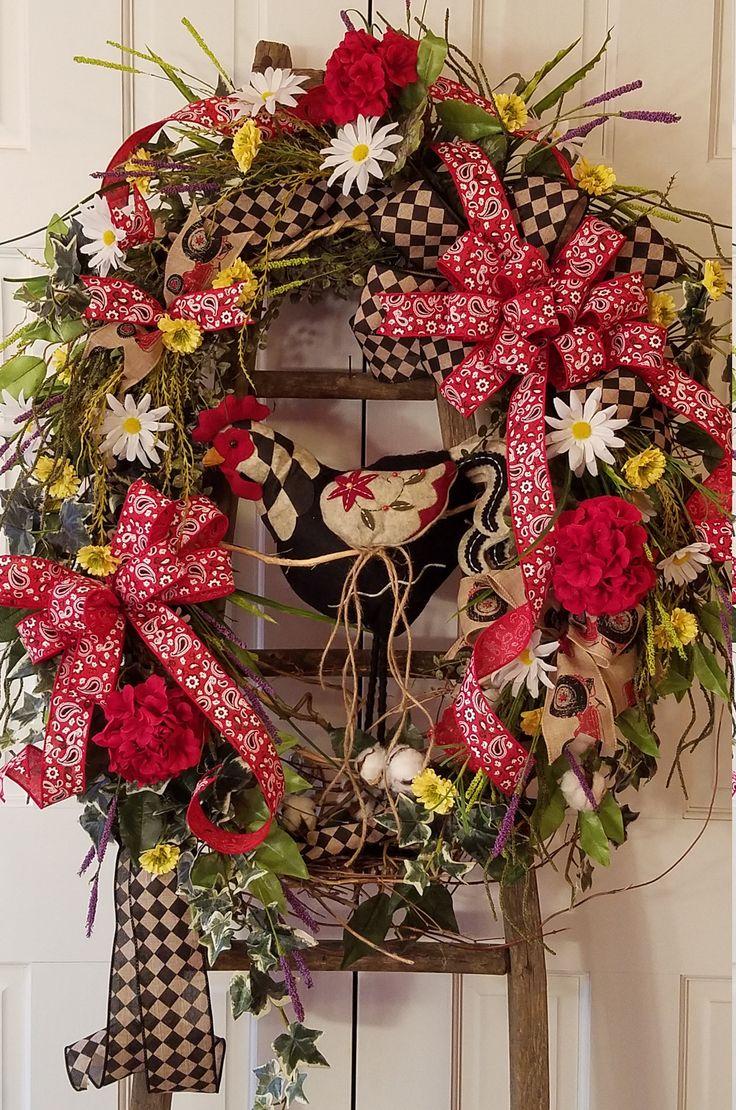 Big Chicken Wreath, Large Door Wreath, Country Wreath, Everyday Wreath, Country Wreath, Americana Wreath, Large Wreath, Farmhouse Barn Wreat by PetalsAndPaintbrush on Etsy
