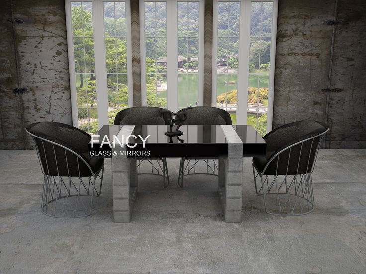 This Radiant Mirrored Dining Table will compliment any room interior design. The dark grey glass tabletop is inlaid with splendid textured silver mirror panels. They all have beveled edges and thanks to that facets look outstanding. This designer dining table will impress anybody who visits your home.