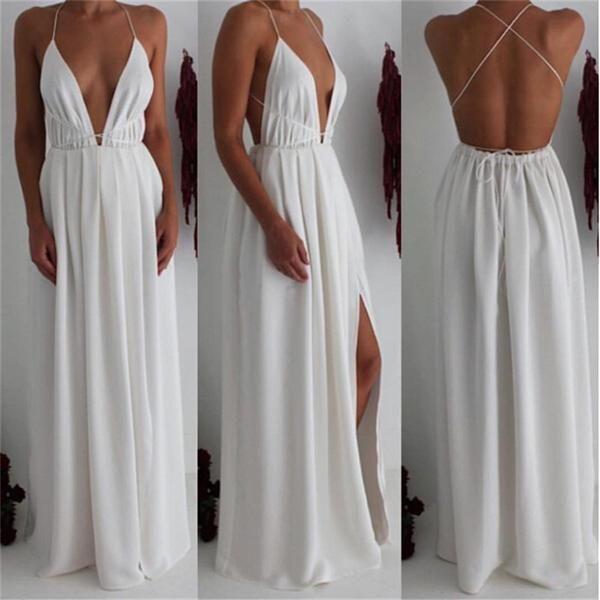 ♡ Split Maxi Dress Dark Blue Deep V neck Evening Party Dress ♡ - Crystalline