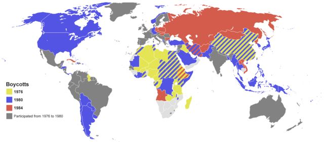 This maps shows the countries who boycotted the 1974 Olympics, 1980 Summer Olympic and the 1984 Summer Olympics. 65 countries in total boycotted the 1980 Summer Olympics in Moscow. Only 80 countries participated in the 1980 Summer Olympics.