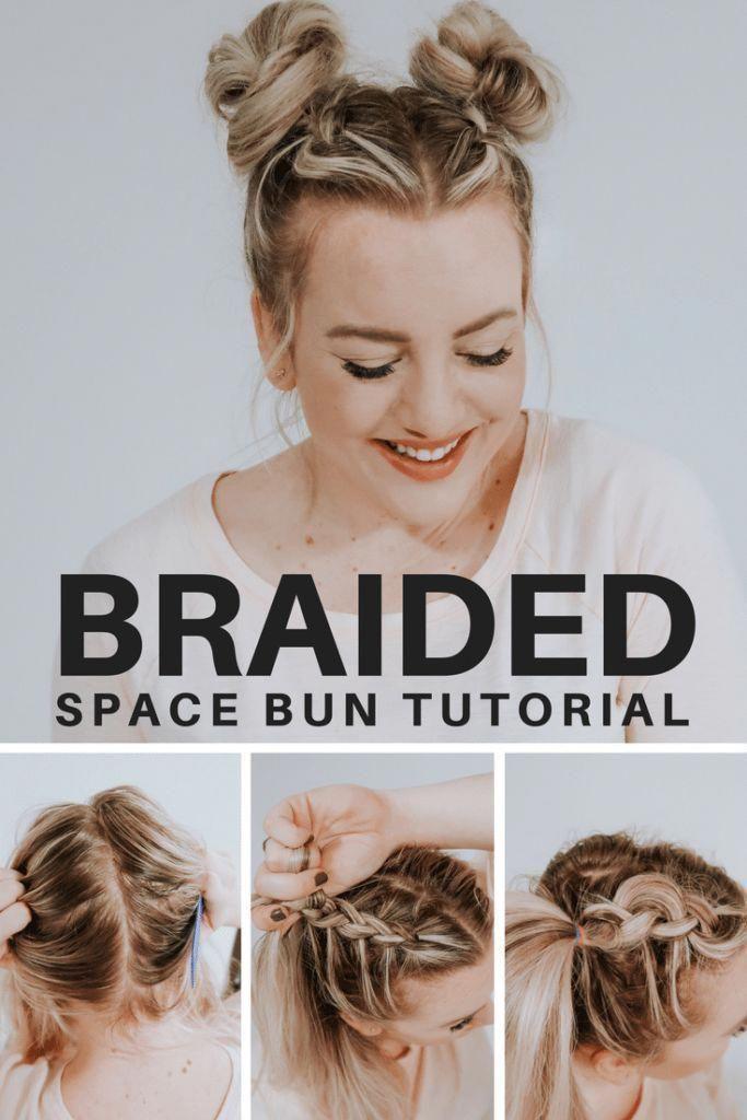 Space Messy Buns Tutorial With Dutch Braid Braidedhairstylestutorials Bun Tutorial Space Buns Hair Thick Hair Styles
