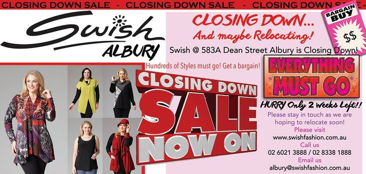 #Swish Albury Store is Closing Down! And maybe relocating. Clearance Sale on now for 2 weeks ONLY. Get in for a great bargain while stock lasts! Fashion For Real Women Sizes 12 - 26. Beautiful Australian made garments with a great fit. Don't miss out! #plussizedress #Realfashion #Fashionplus #WinterSale