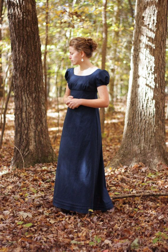 Cotton Regency Gown, Reenactment, Costume, Navy,  Size Misses 4https://www.etsy.com/listing/210320439/cotton-regency-gown-reenactment-costume?ref=related-3