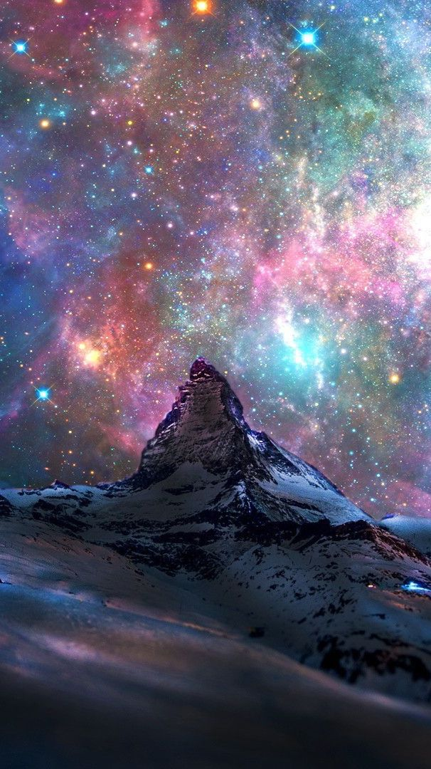 Iphone Wallpapers – Space-Galaxy-View-From-Switzerland-Mountains-iPhone-Wallpaper