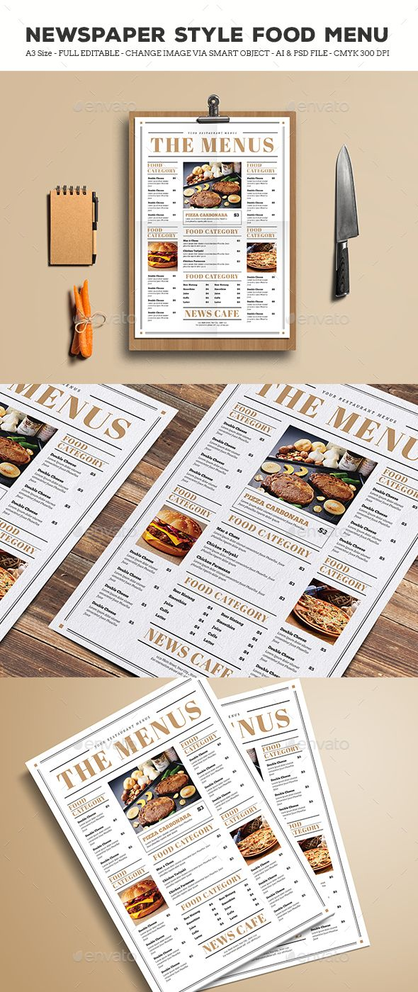 Newspaper Style Food Menus — Photoshop PSD #business #classic • Download ➝ https://graphicriver.net/item/newspaper-style-food-menus/19495893?ref=pxcr