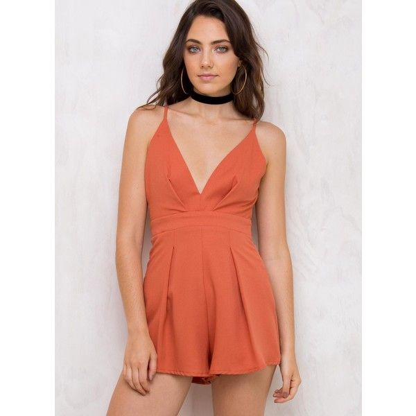 Seraphina Playsuit (695 UAH) ❤ liked on Polyvore featuring jumpsuits, rompers, burnt orange, playsuit romper, seraphina, red rompers and red romper