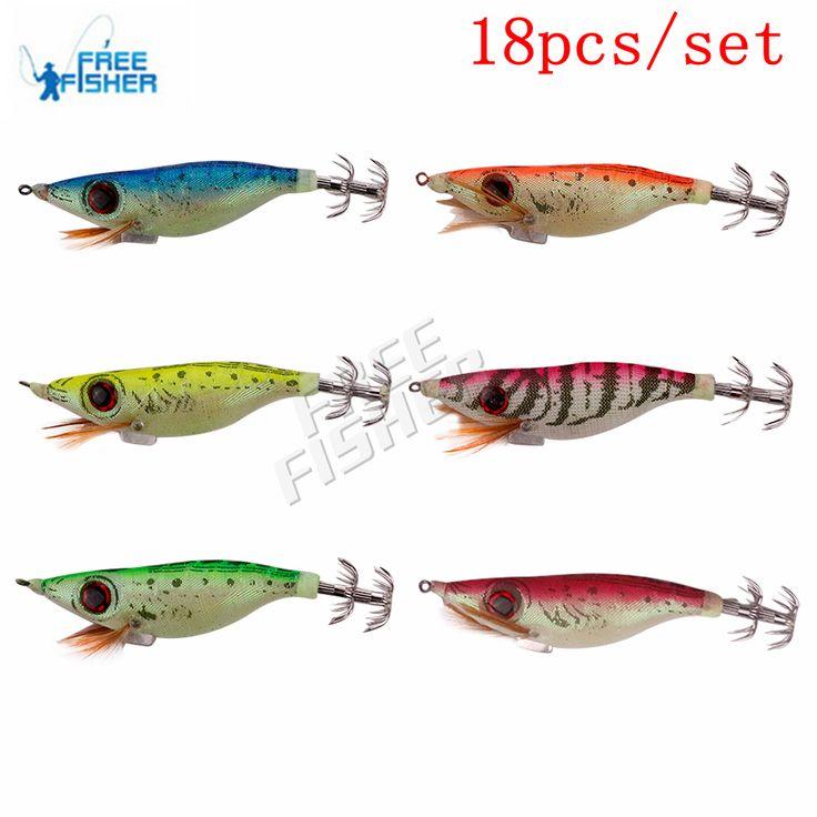 Free Fisher 18pcs/lot 10.1cm Fluorescent Squid Hook Cuttlefish Jig Fishing Hard Lure Luminous iscas de pesca chocos