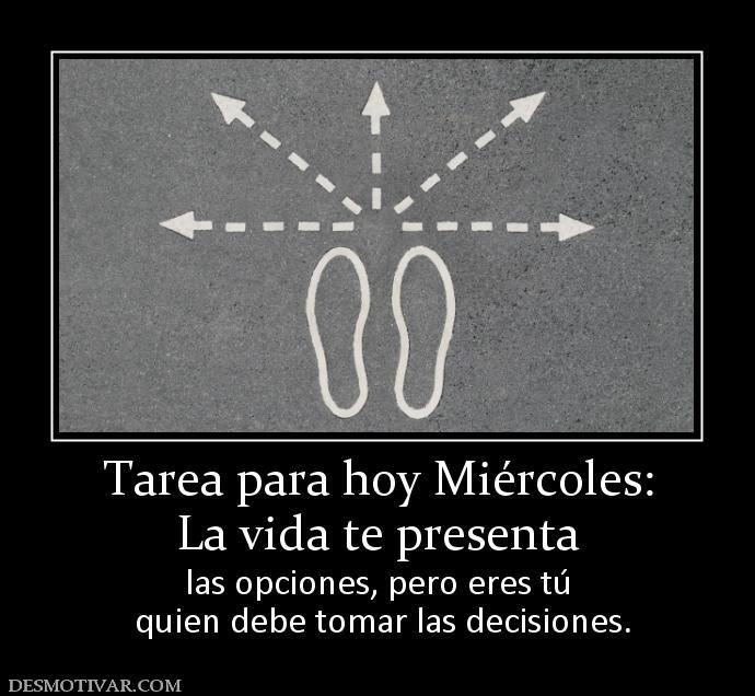 Tarea para hoy Miércoles: La vida te presenta  las opciones, pero eres tú  quien debe tomar las decisiones.