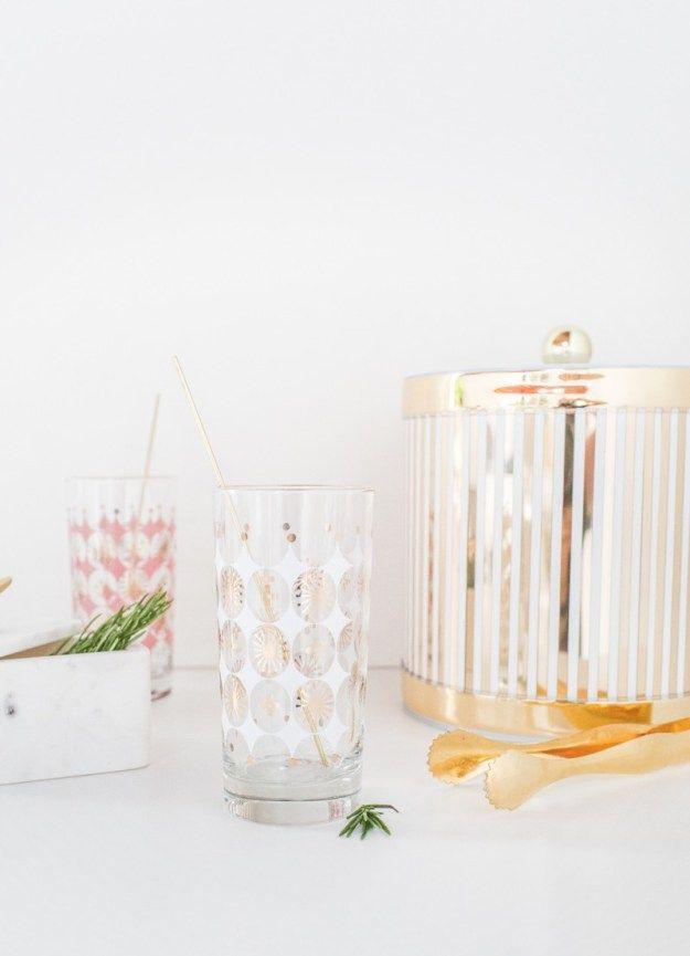Reutilizables DIY agitadores de la bebida de oro   sugarandcloth.com
