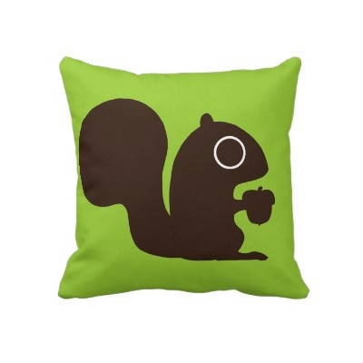 """""""Cute Squirrel on Green (Customizable) Pillows from Zazzle.com  Completely customizable Cute Squirrel on Green (Customizable) Pillows created by jennsdoodleworld. Customize this design with your own text and pictures or order as shown. Available in 2 sizes.  Jenn K.: A Squirrel Pillow"""""""