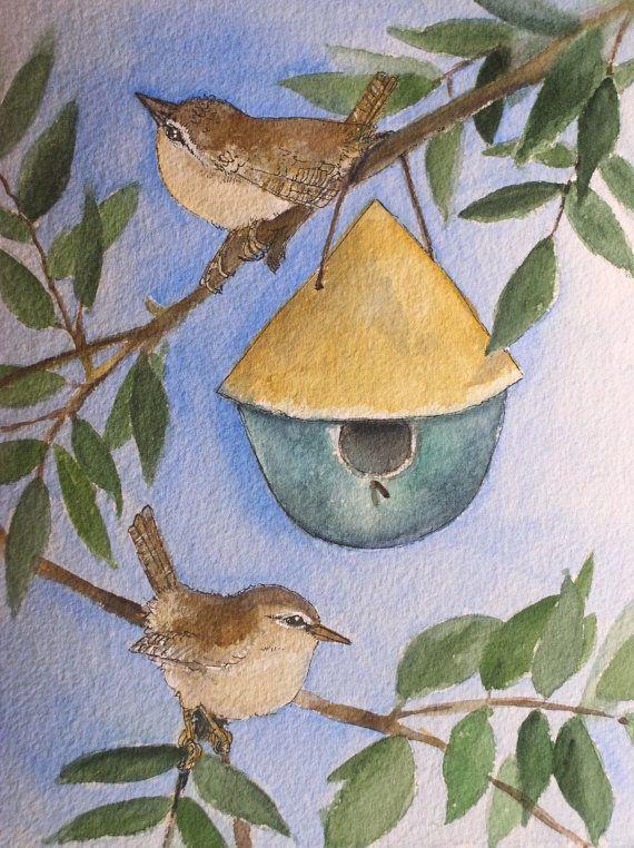 Nature Art Watercolor Woodland Bird Birdhouse by BetweenTheWeeds,