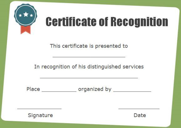Certificate Of Recognition As Chairman Certificate Of Recognition