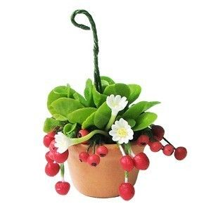 MIniature Polymer Clay Flowers, Red Berry and White Daisy, Hanging Garden for Dollhouse Collection