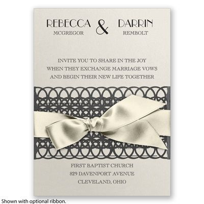 Lattice Shimmer Wedding Invitation by David's Bridal #vintagewedding #weddinginvitation #davidsbridal: Vintagewed Weddinginvit, Weddinginvit Davidsbrid, Wedding Invitations