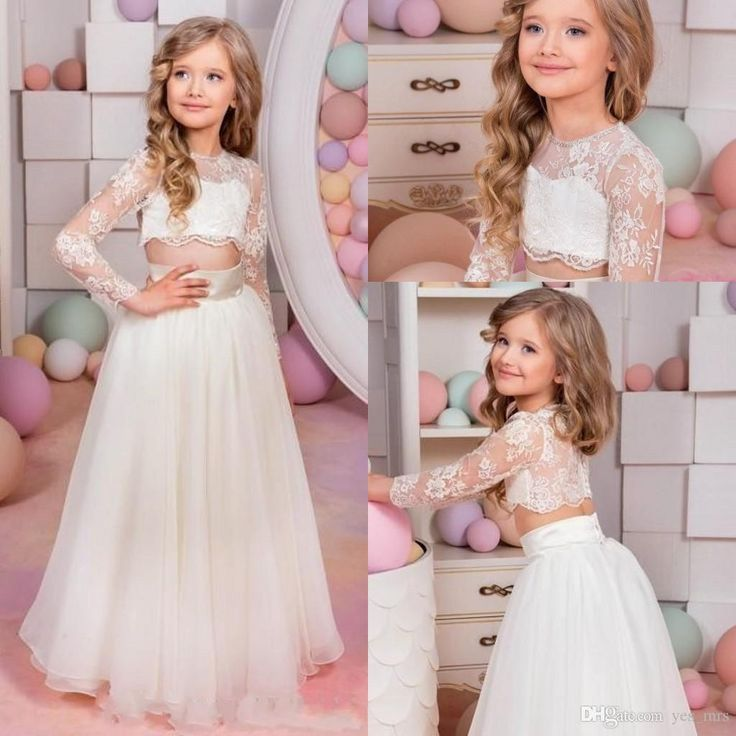 2016 Two Pieces Flower Girls Dresses For Weddings Jewel Neck Long Sleeves Lace Princess Birthday Dress Children Party Kids Girl Ball Gowns Online with $72.37/Piece on Yes_mrs's Store | DHgate.com