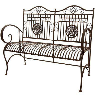 Oriental Furniture Rustic Metal Outdoor Bench in Rust Patina