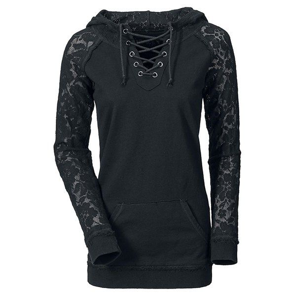 Stylish Lace Splicing Lace-Up Long Sleeve Hoodie For Women (BLACK,XL) in Sweatshirts & Hoodies   DressLily.com