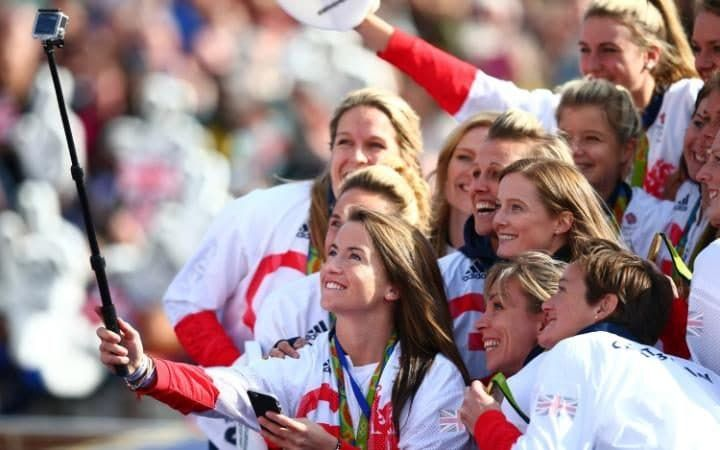 Womens hockey player, Maddie Hinch takes a group selfie during the Olympics & Paralympics Team GB - Rio 2016 Victory Parade
