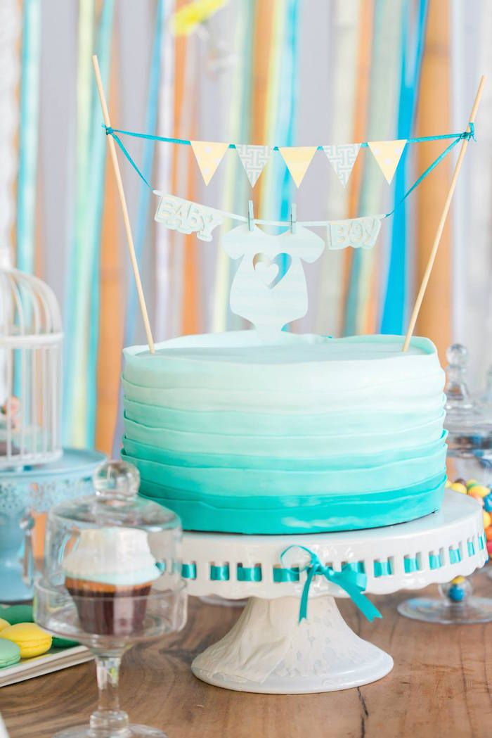 Blue ombre cake! Yellow + Blue Baby Shower via Kara's Party Ideas KarasPartyIdeas.com The Place for ALL THINGS PARTY! #boybabyshower #babyshowerideas #yellowandblue #blueandyellow #babyshowerideas #partyplanning (15)