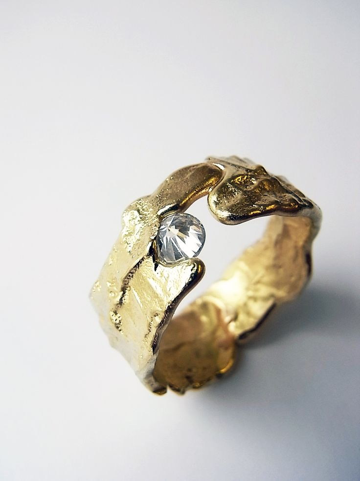 Freeform ring in 18ct yellow gold with a 0.25ct inverted diamond. Kelvin J Birk 2015