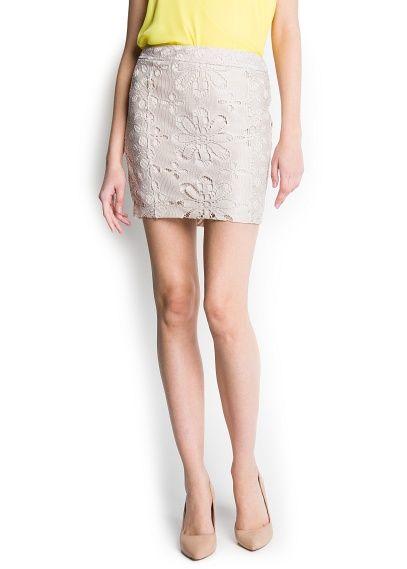 Floral openwork motifs skirt