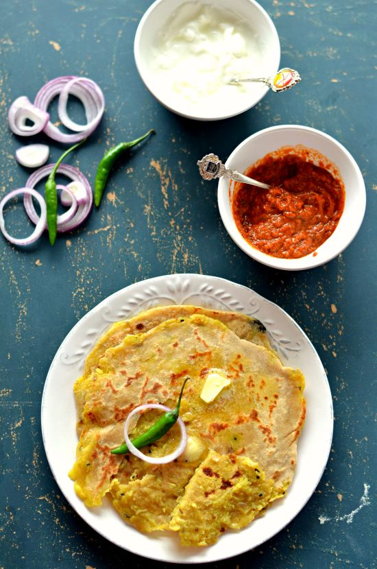 Delicious Indian stuffed flatbread - Alu paratha.  Made Maharashtrian style with pre-cooked stuffing inside.  Amazing flavours!