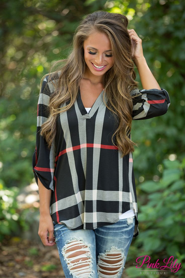 On The Right Track Plaid Tunic Black - The Pink Lily