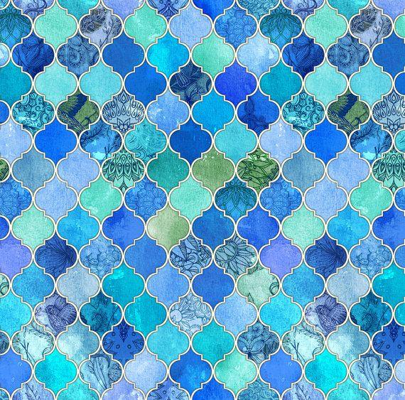 Blue Moroccan Fabric Cobalt Blue And Aqua Decorative