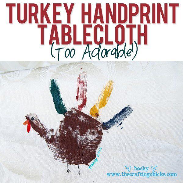 Turkey Handprint Tablecloth via @howdoesshe
