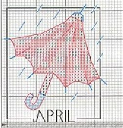 point de croix parapluie avril - cross stitch april umbrella