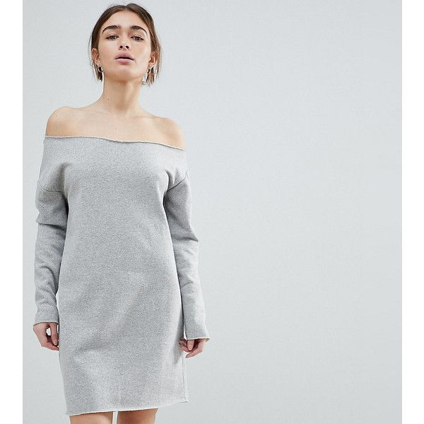 ASOS PETITE Raw Edge Off Shoulder Sweat Dress (94 PEN) ❤ liked on Polyvore featuring dresses, grey, tall denim dress, petite dresses, asos, off the shoulder denim dress and petite denim dress