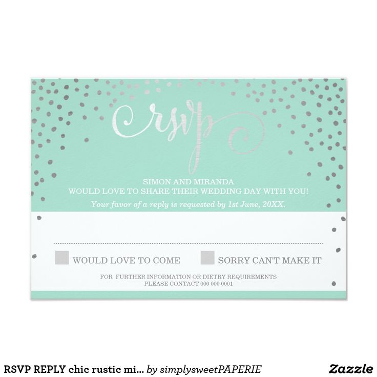 RSVP REPLY chic rustic mini silver confetti mint Card NOTE - THE SILVER FOIL LOOK IS A PRINTED PICTURE A modern, glamorous rustic confetti pattern design for your RSVP REPLY CARDS - to match your main invitations. A sophisticated and clever affordable option for the budget conscious bride. There is no excuse that your Wedding Stationery cannot look AMAZING at the right price - wow your friends and family with this little number