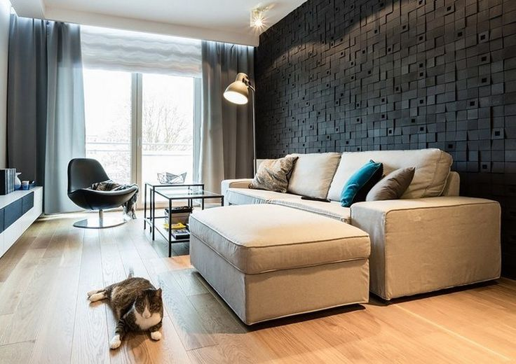 3d wandpaneele in schwarz hinter dem sofa wohnzimmer sal n moderno salones und paneles 3d. Black Bedroom Furniture Sets. Home Design Ideas
