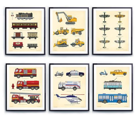 Transportation wall art, toddlers decor, nursery illustration, Train wall decor, Construction prints, Fire engine, Car prints, Airplane art
